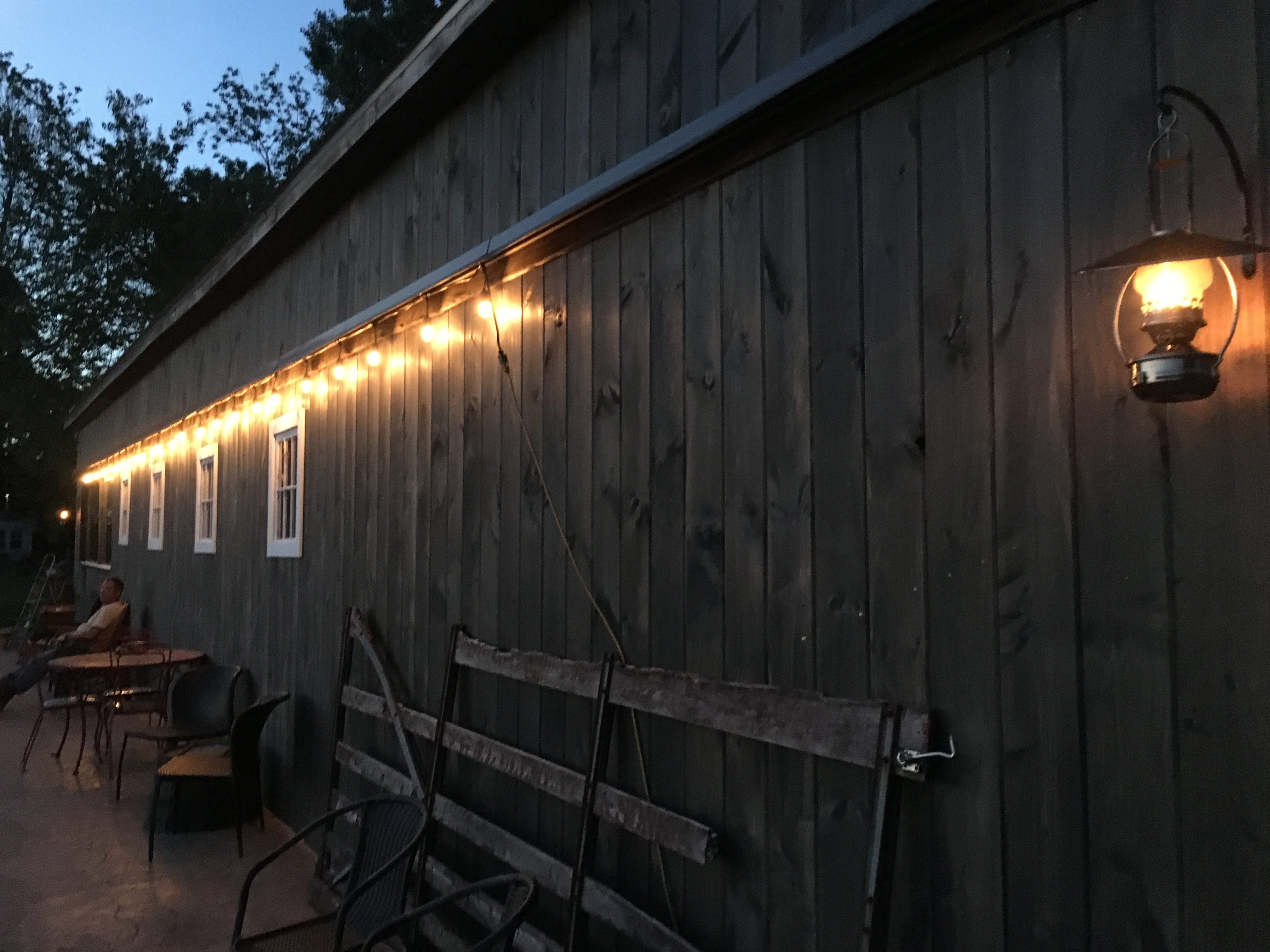 Shows lighting on one side of the barn.