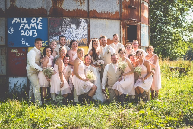 Candid picture of the bridal party.