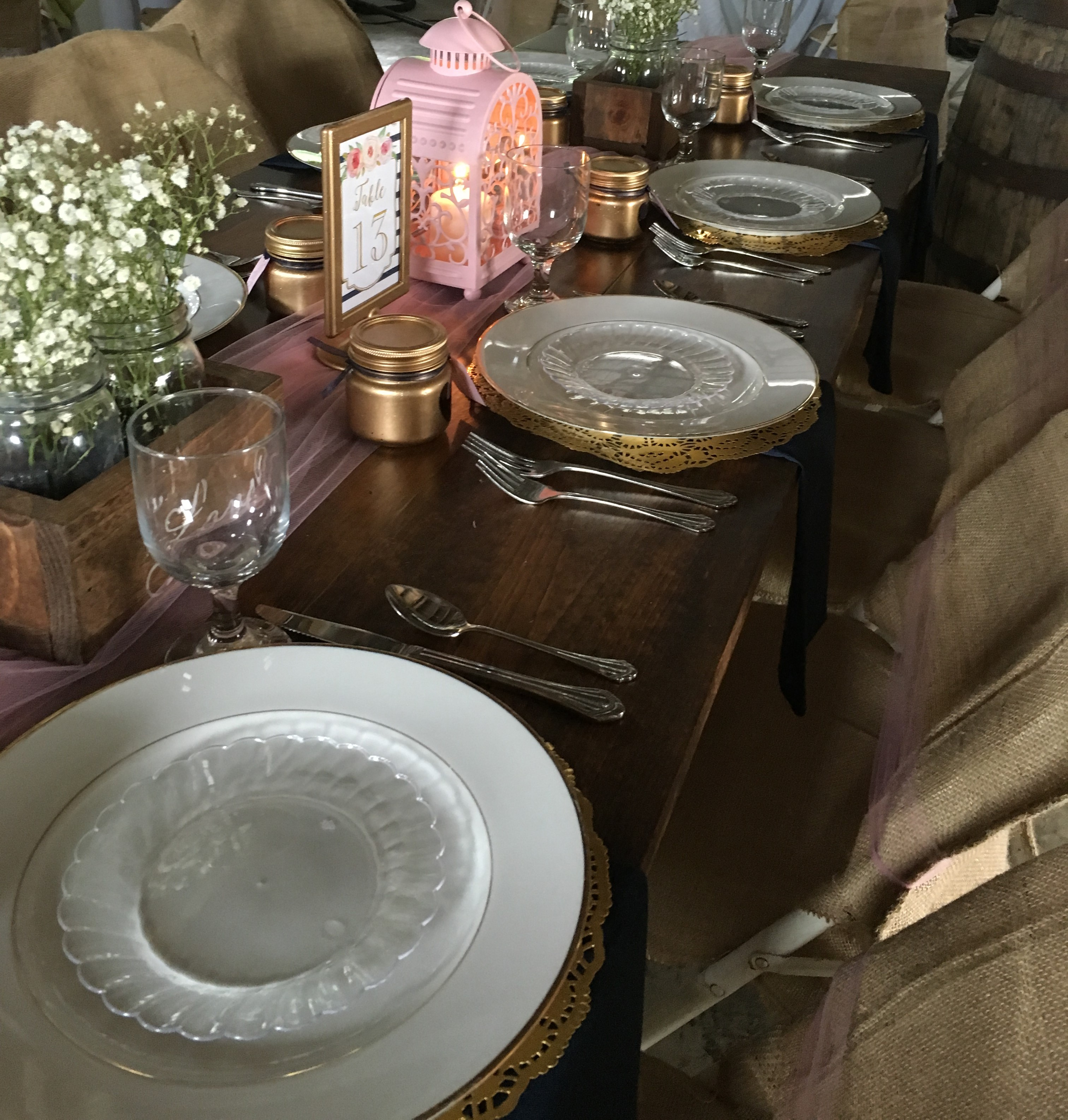 Close up picture of using nice China at a barn wedding.