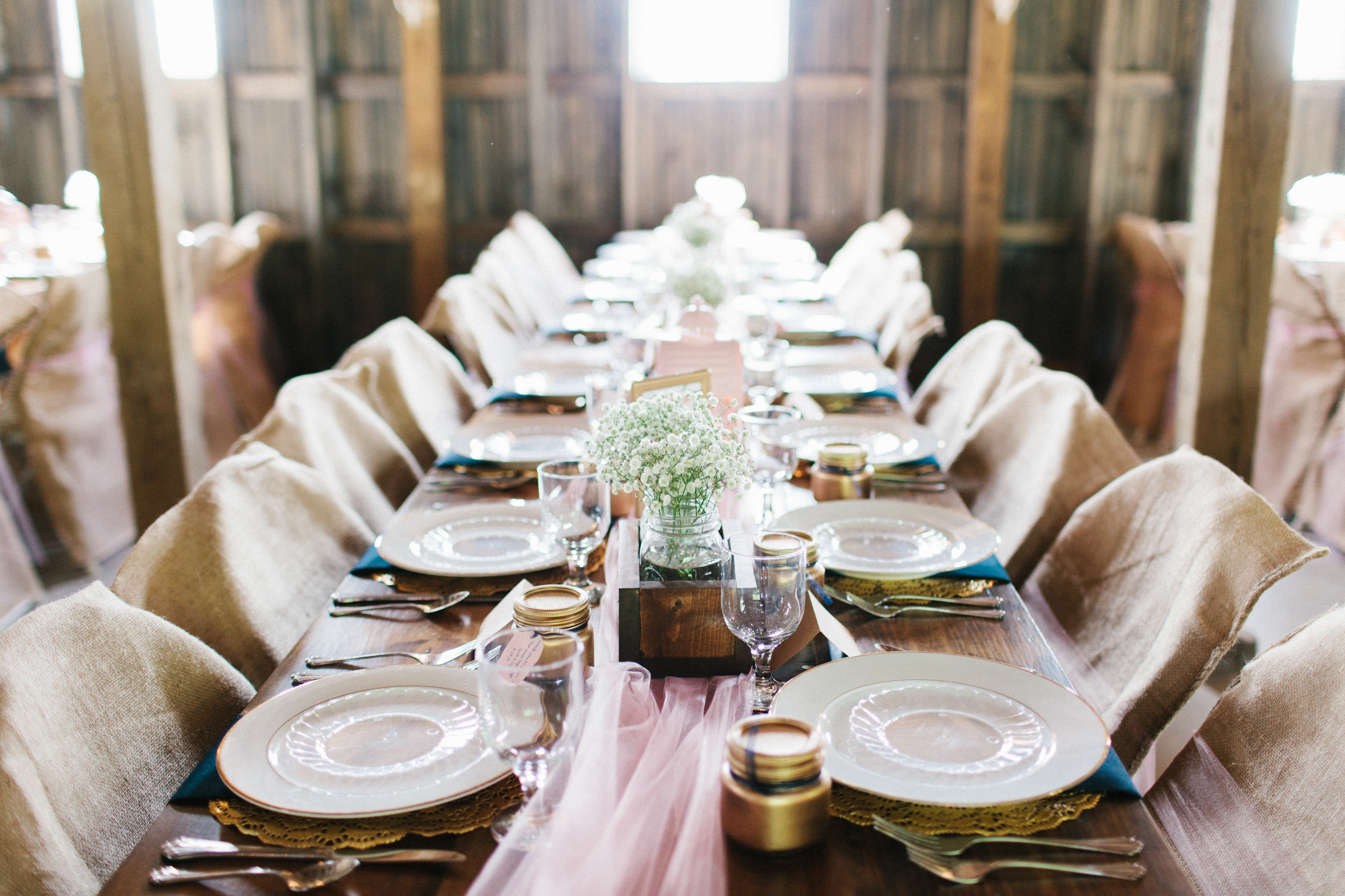 Close up of one of the long tables available.