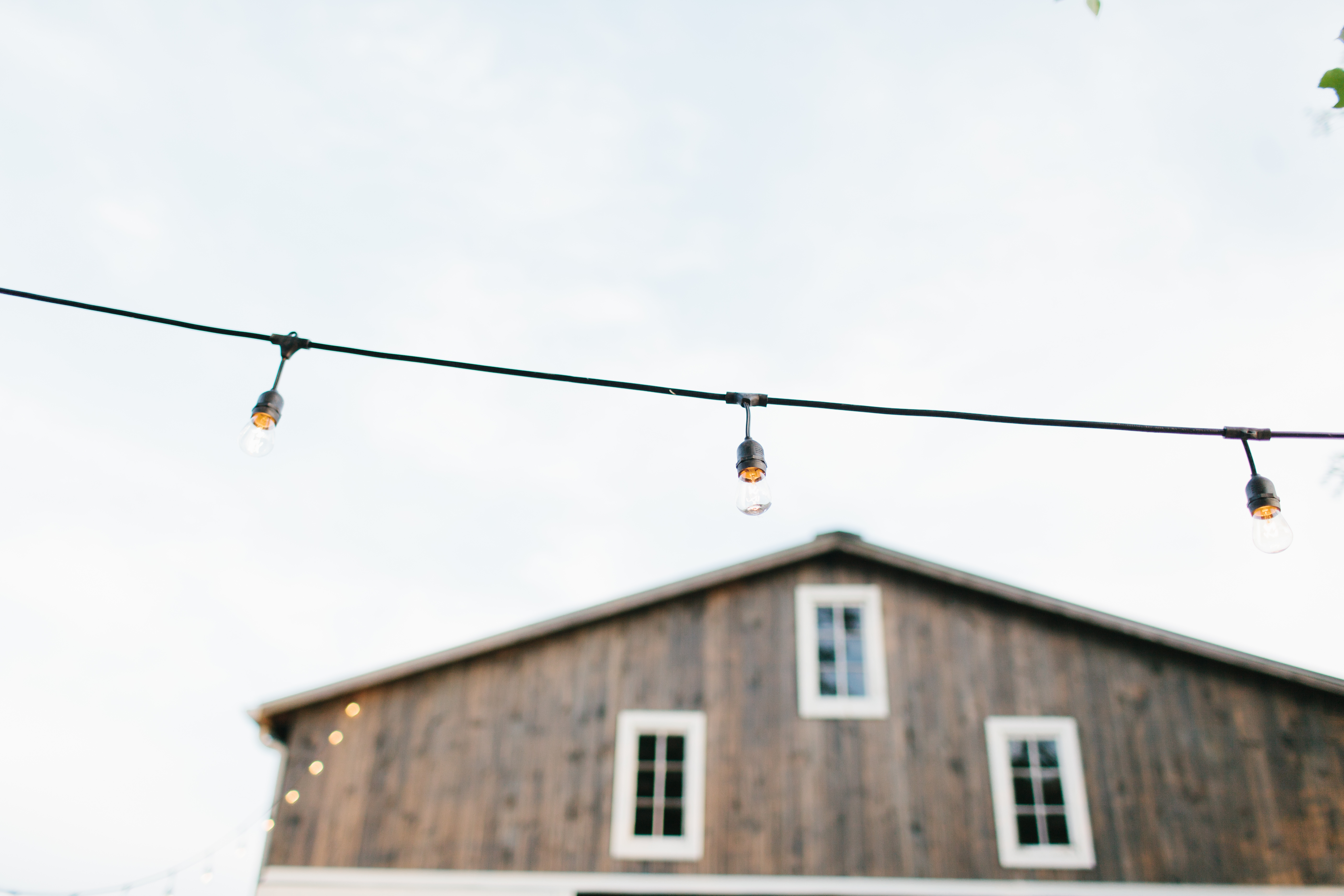 Close up of the old style lighting outside the barn.